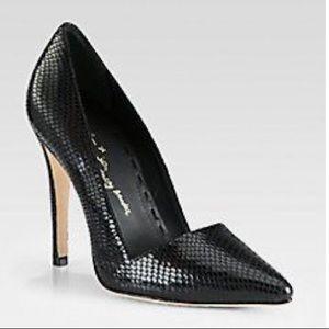 ALICE + OLIVIA Snake Embossed Dina Heels 37.5